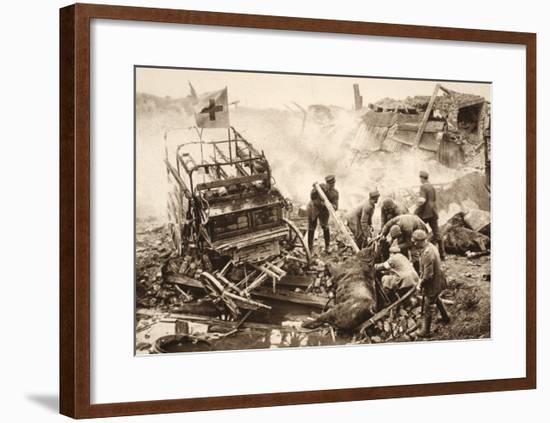 Medical Team Assist their Wounded Comrades in the Midst of Enemy Artilley Fire (B/W Photo)-German photographer-Framed Giclee Print