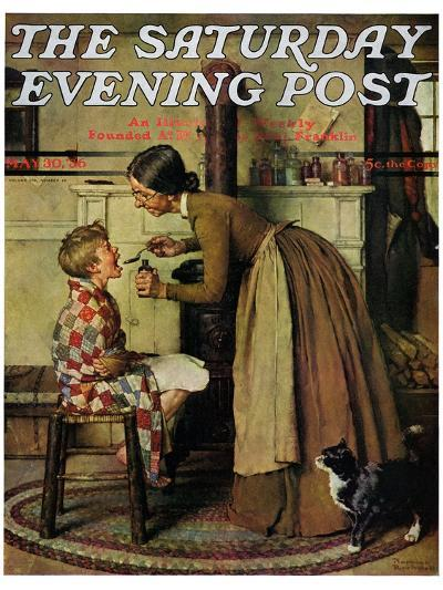 """""""Medicine Giver"""" """"Take Your Medicine"""" Saturday Evening Post Cover, May 30,1936-Norman Rockwell-Giclee Print"""