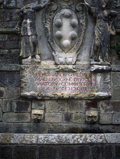 Medicis Coat of Arms on Fountain in Val D'Orcia, Natural, Artistic and Cultural Park--Giclee Print
