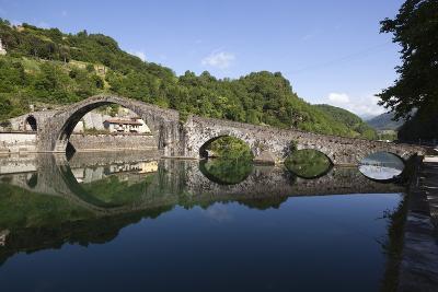 Medieval Bridge of Ponte Della Maddalena on the River Serchio, Borgo a Mozzano, Near Lucca-Stuart Black-Photographic Print