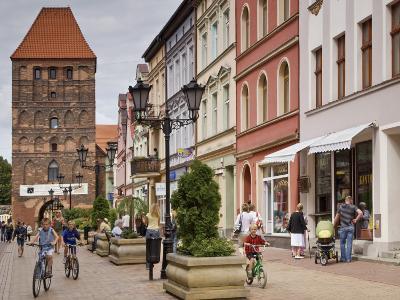 Medieval Czluchow Gate Seen from Pedestrianized 31 Stycznia Street-Witold Skrypczak-Photographic Print
