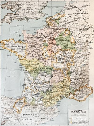 Medieval France Old Map (10th - 14th Century)-marzolino-Art Print