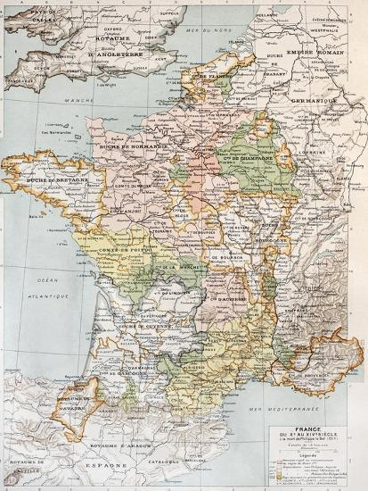 Medieval Map Of France.Medieval France Old Map 10th 14th Century Art Print By Marzolino Art Com