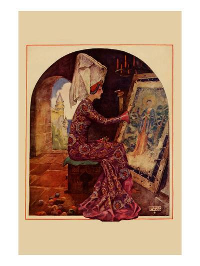Medieval Girl Sews a Tapestry-Needlecraft Magazine-Art Print