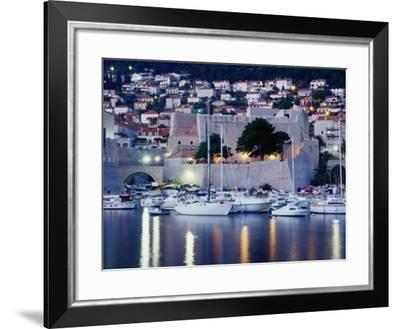 Medieval Revelin Fort with Marina in Foreground, Dubrovnik, Croatia-Richard Nebesky-Framed Photographic Print