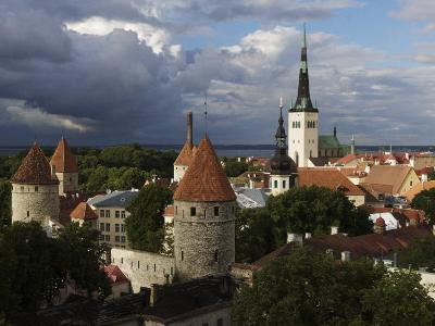 Medieval Town Walls and Spire of St. Olavs Church, Tallinn, Estonia, Baltic States, Europe-Keenpress-Photographic Print