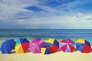 Seven Umbrellas on the Smooth Sands of an Empty Beach in the Caribbean by Medioimages/Photodisc