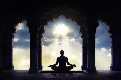 Meditating in Old Temple-Marina Pissarova-Photographic Print