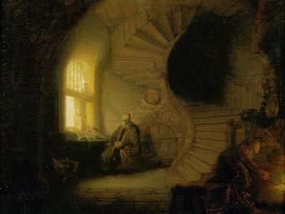 Philosopher in Meditation by Rembrandt  Giclee  Canvas Print