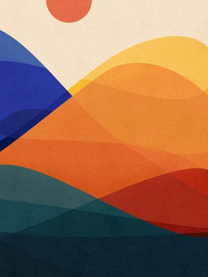 Meditative Mountains-Modern Tropical-Art Print