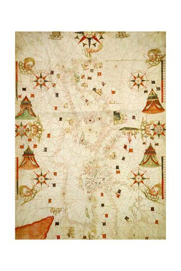 Mediterranean and the Black Sea Map, 1563-Jaume Olives-Giclee Print