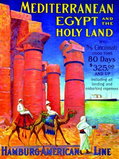 Mediterranean, Egypt and the Holy Land', Poster Advertising the Hamburg American Line, 1909--Giclee Print