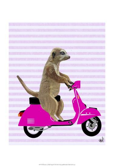 Meerkat on Pink Moped-Fab Funky-Art Print