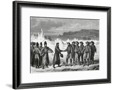 Meeting Between Dutch Navigators and Russian Fishermen--Framed Giclee Print