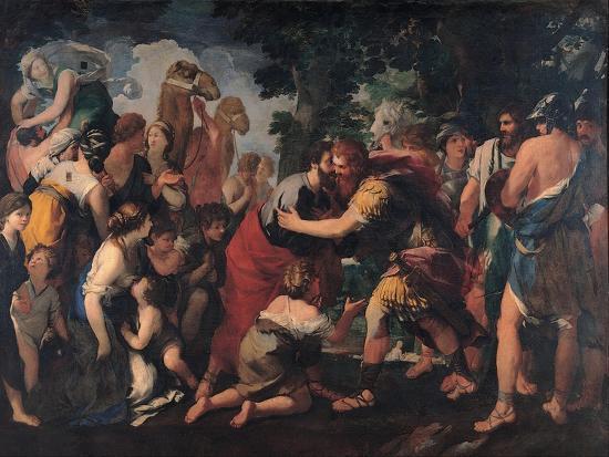 Meeting Between Esau and Jacob, 1636-1641-Giovanni Maria Bottala-Giclee Print