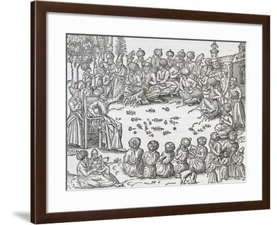 Meeting Between Turks and Arabs, Morocco, Engraving from Universal Cosmology-Andre Thevet-Framed Giclee Print