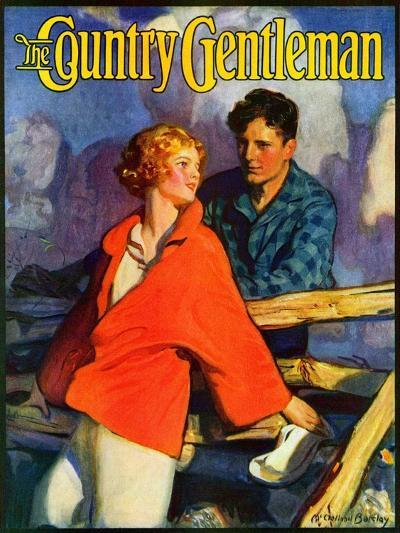 """""""Meeting by the Fence,"""" Country Gentleman Cover, April 1, 1926-McClelland Barclay-Giclee Print"""