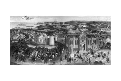 Meeting of Henry VIII and Francis I, at the Field of Cloth of Gold, 1520--Giclee Print