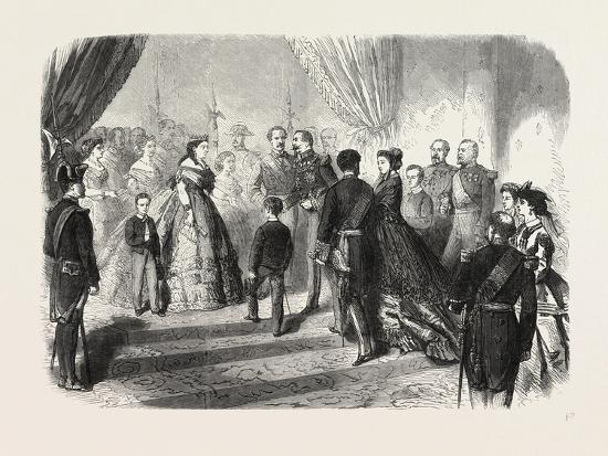 Meeting of the French and Spanish Royal Families in the Hotel De Ville, St. Sebastian, 1865--Giclee Print