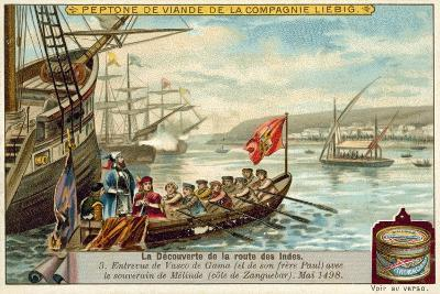 Meeting of Vasco Da Gama and His Brother Paulo with the Ruler of Malindi, May 1498--Giclee Print