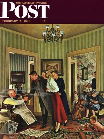 """""""Meeting the Date,"""" Saturday Evening Post Cover, February 5, 1949-John Falter-Giclee Print"""