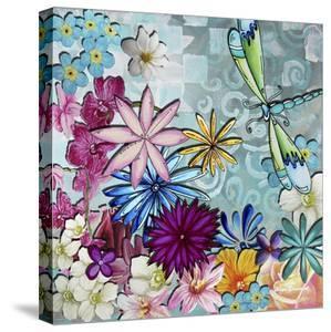 Aqua Brown Background Floral by Megan Aroon Duncanson