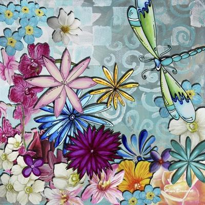 Aqua Brown Background Floral