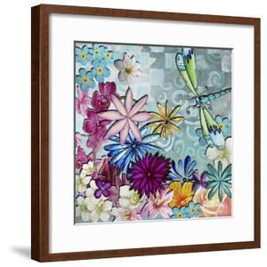 Aqua Brown Background Floral by Megan Aroon Duncanson