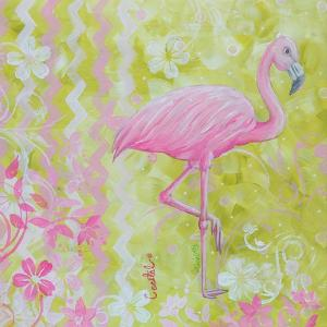 Green and Pink Flowers Flamingo Bird by Megan Aroon Duncanson