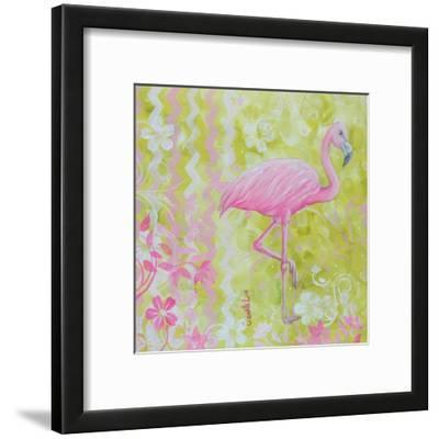 Green and Pink Flowers Flamingo Bird