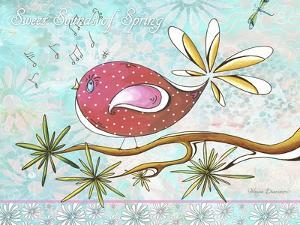 Pink Brown Bird with Notes and Branch by Megan Aroon Duncanson