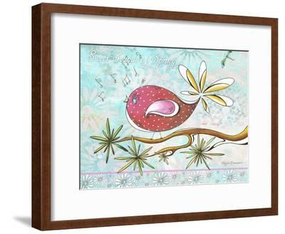 Pink Brown Bird with Notes and Branch