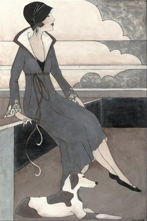 Art Deco Lady with Dog by Megan Meagher