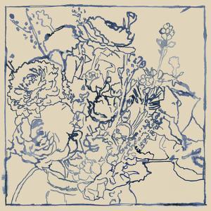 Indigo Floral Sketch I by Megan Meagher