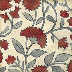 Red and Grey Floral I by Megan Meagher