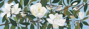 Chickadees and Azure-Winged Magpie by Megan Moore