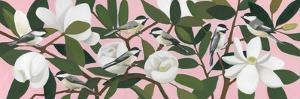 Chickadees on a Southern Magnolia by Megan Moore