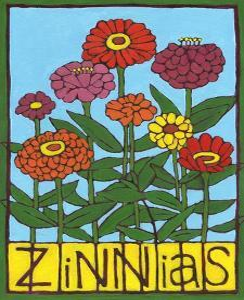 Zinnias, 2004 by Megan Moore
