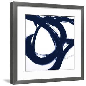 Navy Circular Strokes I by Megan Morris