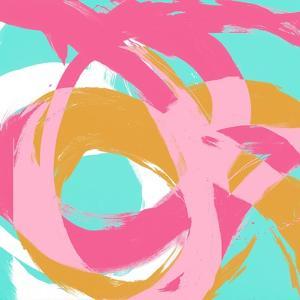 Pink Circular Strokes I by Megan Morris