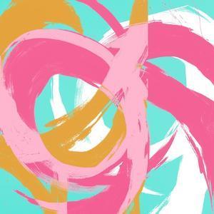 Pink Circular Strokes II by Megan Morris
