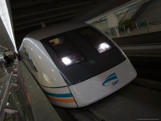 Meglev Train Prepares to Depart Airport Train Station, Shanghai, China-Paul Souders-Photographic Print