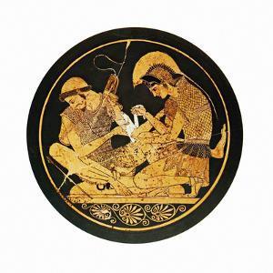 Achilles Binding Patroclus' Wound by Mehau Kulyk