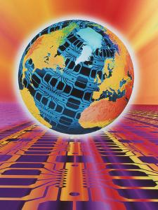 Computer Art of Earth As a Circuit Board by Mehau Kulyk