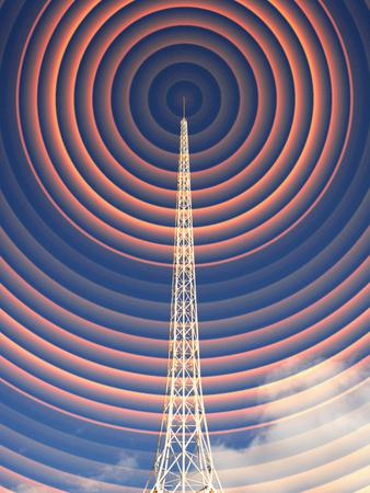 Radio Mast with Radio Waves