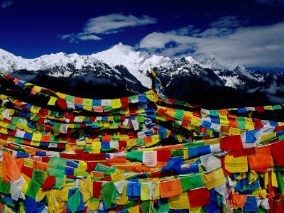 Meilixueshan (Also known as Meili Xueshan) Mountain Range and Buddhist Prayer Flags-Richard l'Anson-Photographic Print
