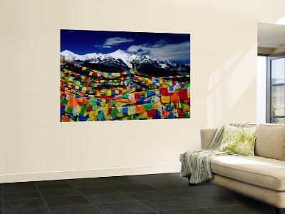Meilixueshan (Also known as Meili Xueshan) Mountain Range and Buddhist Prayer Flags-Richard l'Anson-Wall Mural