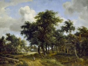 Village Street under Trees, about 1665 by Meindert Hobbema