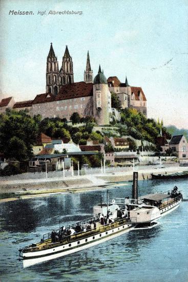 Meissen, Ein Dampfer Auf Der Elbe, Albrechtsburg--Giclee Print