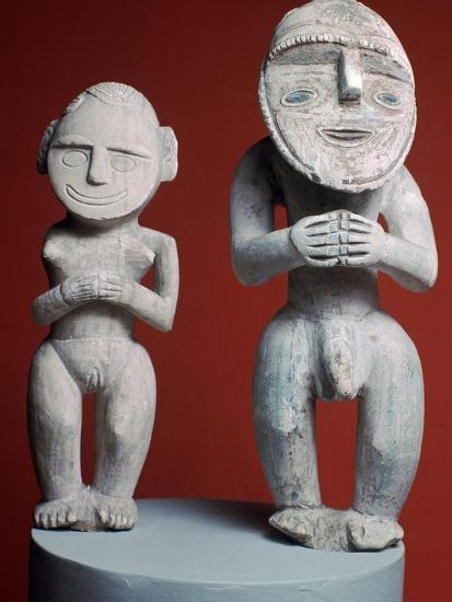Melanesian male and female ancestor figures-Unknown-Giclee Print